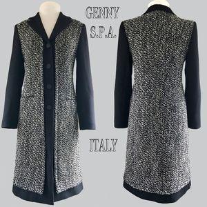 GENNY SPA B+W Tweed Wool Blend Mixed Fabric Coat